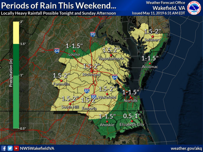 NWSWakefieldVA on Heavy rain/flooding Potential This weekend